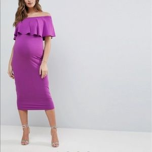 ASOS Maternity Midi Bardot Pencil Dress w/ Ruffle